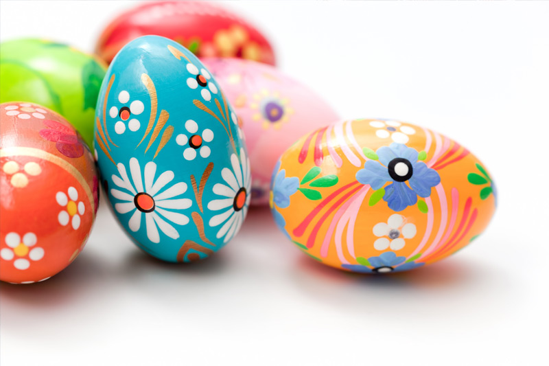 Various eggs decorated for Easter